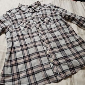 Torrid Button Down Plaid Shirt Light Pink & Gray